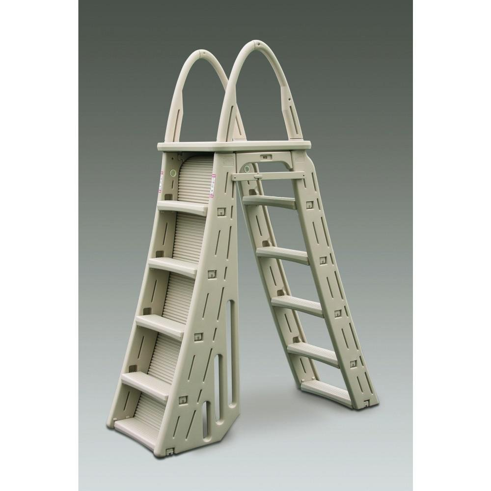 a frame pool roll guard safety ladder