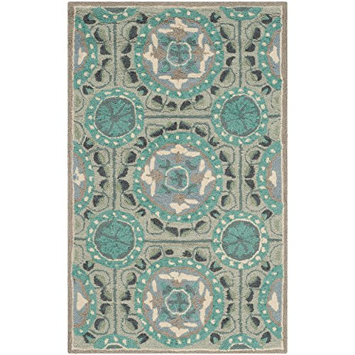 Safavieh Four Seasons Collection FRS485D Hand-hooked Mint and Aqua Area Rug, 2 feet by 3 feet (2' x 3')