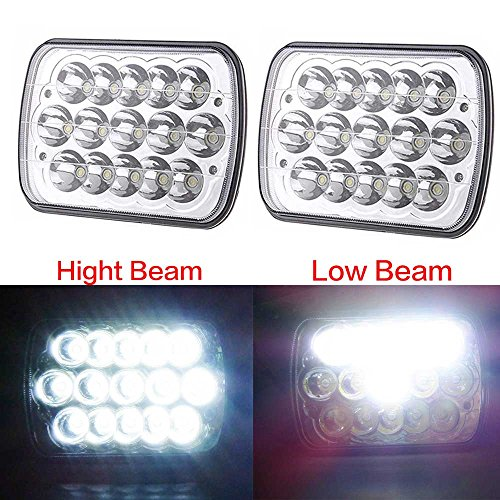 Super Bright pair 7x6 45W Led Headlight conversions 15 Chip sealed beam to H4 harness Clear glass lens (6054 Led Sealed Beam Headlight compare prices)