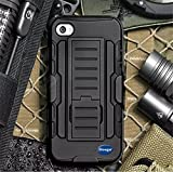 (Surprised) iPhone 5/5S Removable Belt Clip Black Advanced Armor Hard Hybrid Case Cover Military Stand Holster Combo Case for iPhone 5 Bullet Charcoal iPhone 5S Case - Three Month Warranty - Slim Armor 3 Layer Protective Fitted Cover Case for iPhone 5S Shockproof Hybrid Rugged iPhone 5 Case Rubber Three Layer Holster Cover Case for iPhone 5 With Built-in Kickstand and Belt Swivel Clip and Screen Protector (iPhone 5S)