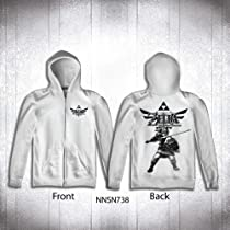 Legend Of Zelda Skyward Zip-up Men White Hoodie (XL)