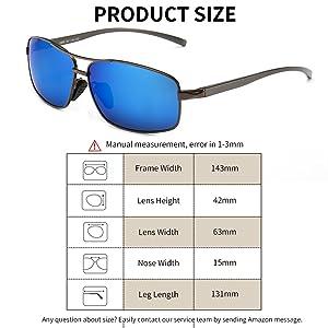 cafff3f201 SUNGAIT Ultra Lightweight Rectangular Polarized Sunglasses 100% UV  protection (Gunmetal Frame Blue Mirror Lens