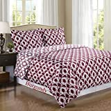 Burgundy and White Sierra 3pc Full / Queen Comforter Cover (Duvet-Cover-Set) 100 % Egyptian Cotton 300 TC