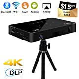 Mini Pico Projector, Salange DLP HD Video Projector Wireless WiFi Pocket Projector for Home Theater Cinema, 170 ANSI Lumens Portable Android Projector Built-in Rechargeable Battery LED Projector (Color: Black, Tamaño: Small)