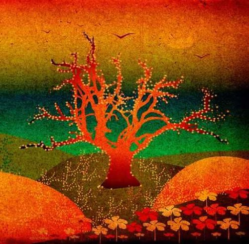 Landscape with Hills, Tree and Flowers - 18