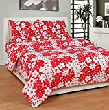 Soni Traders Floral Print Polycotton Double Bedsheet With 2 Pillow Covers (BST_166, Red)