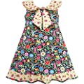 Girls Dress Bow Tie Yellow Floral Turn-Down Collar and Trim Size 4-10 NWT