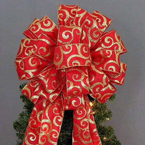 Red Gold Glitter Swirl Christmas Tree Topper Bow - 13