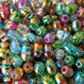 Pretty Pebbles Beads - 50 Drawbench Glass Beads Oval 11mm x 8mm Colour Mix