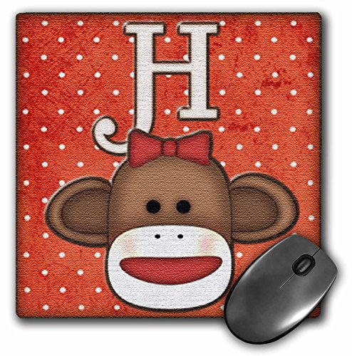 Cute Sock Monkey Girl Initial Letter H - Mouse Pad, 8 by 8 inches (mp_102811_1)