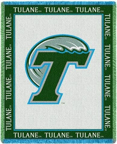 Tulane University Green Wave Throw Blanket Woven Afghan Tapestry 69 x 48 [Misc.]