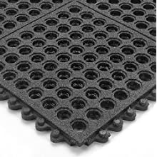 "Wearwell Nitrile Rubber 576 24/Seven GritWorks Anti-Fatigue Mat, for Wet Areas, 3' Width x 3' Length x 5/8"" Thickness, Black"