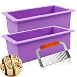 YGEOMET Silicone Soap Molds, 2pcs 38oz Rectangular Loaf Mold with Stainless Steel Scraper for Handmade Soap (Color: Purple)