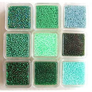 Seed Glass Beads 11/0,High Quality Japanese. Greens .Pack of 9.
