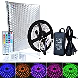 RaThun LED Strip Lighting 10M 32.8 Ft Non-waterproof 5050 RGB 300 LEDs Flexible Color Changing Full Kit with 44 Keys IR Remote Controller,Control Box,12V 5A Power Supply for Home lighting Decorative