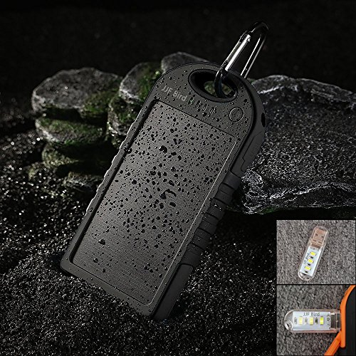 JJF Bird TM Solar Panel Charger 12000mah Rain-resistant Waterproof Shockproof Portable Dual USB Port Portable Charger Backup External Battery Power Pack for Iphone 6 4 4s 5 5sipod, Ipad Ipad Mini Retina(apple Adapters Not Included), Samsung Galaxy Note 2, Note 3, S2 S3, S4, S5, Blackberry Z30, Z10, Q10, Q5, Asus Nexus 4, 5, 7, 10, HTC One V, X, M8, M7, Mini, Max, Motorola Moto G, X, E, Droid, Lg G2, G3, Sony Xperia, Nokia Lumia, Icon, 521, 520, 920, 1020, 1520 Most Android/windows Smart Cell Phones, Gps, Tablets, and Other Usb-charged Devices, Etc. (Black)