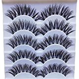 Bluelans 5 Pairs Long Cross False Eyelashes Makeup Natural Thick Black Fake Eye Lashes Extension Makeup
