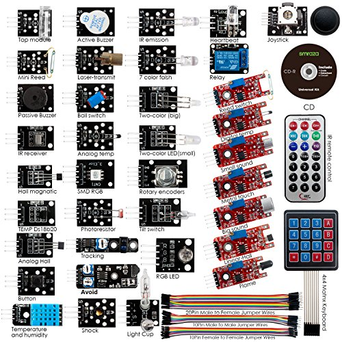 Smraza 37 Sensor Modules Kit with Detailed Tutorial for Arduino UNO NANO R3 Mega2560 Mega328 (Force Sensor Arduino compare prices)