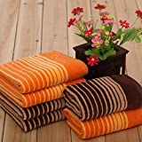 Tender Towels Orange and Brown Cut Pile Hand Towel Stripes Towels for Sports Cotton 8 pcs