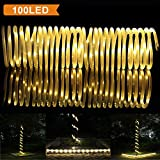LTE 100 LED Solar Rope Lights,33ft, Outdoor Waterproof Solar Rope Lights , Ideal for Decorations,Christmas,Gardens, Lawn, Patio, Weddings, Parties.(Warm White)
