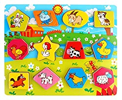 PIGLOO Wooden Farm Animal Shape Blocks for Kids