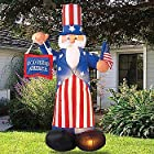 Giant Airblown Uncle Sam Yard Decoration - Inflatable July 4th Lawn Decor