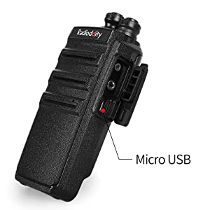 Radioddity GA-2S Long Range Walkie Talkies UHF Two Way Radio Rechargeable with Micro USB Charging + Air Acoustic Earpiece + 1 Free Programming Cable, 4 Pack (Color: Black)