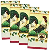 DII Home Essentials 100% Cotton, Machine Washable, Everyday Kitchen Basic Terry Printed Kitchen Towel Set of 4, Rooster