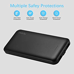 2-Pack Miady 10000mAh Dual USB Portable Charger, Fast Charging Power Bank with USB C Input, Backup Charger for iPhone X, Galaxy S9, Pixel 3 and etc (Color: Black White)