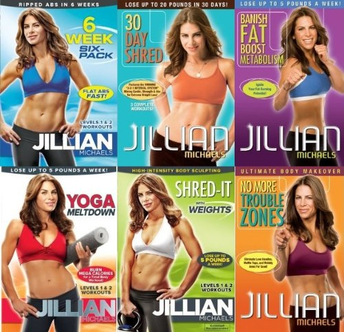 Jillian Michaels 6 DVD Set. 30 Day Shred/Banish Fat Boost Metabolism/No More Trouble Zones/Yoga Meltdown/6 Week Six-pack/Shred-It With Weight