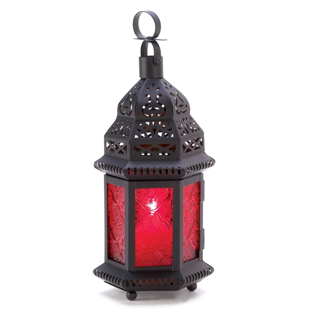 Gifts & Decor Red Glass Metal Moroccan Candle Holder Hanging Lantern