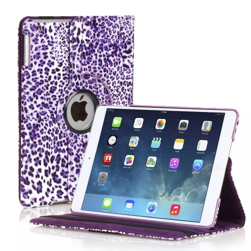 TNP iPad Mini Rotating Case (Leopard Purple) 360 Degree Stand Smart Cover Flip Protective PU Leather For iPad Mini 3, iPad Mini 2 & 1, Multi Viewing Angles, Auto Sleep & Wake Feature & Stylus Holder (Cheapest Ipad 1 compare prices)