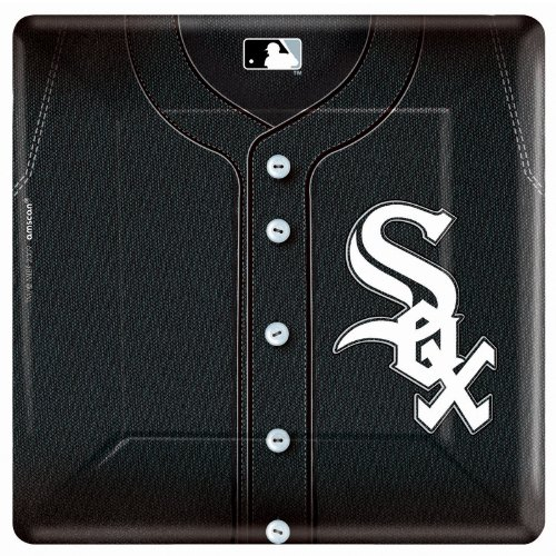 "Amscan 10"" Sq Plates Chicago White Sox 18Ct"