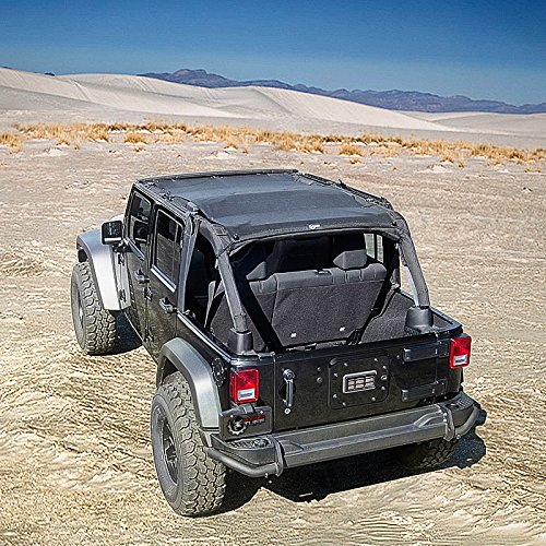 TUFFSHADE JK4D - Full Mesh Sun Shade Bikini Safari Top Cover UV/Wind Shield with Zip Storage Pockets For 2007-2016 Jeep Wrangler Unlimited JK 4-Door Models by Rugged TUFF (2015 Jeep Soft Top compare prices)