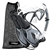 Phantom Aquatics Adult Mask Fin Snorkel Set with Mesh Bag, Silver, Large/X-Large/Size 9 to 13