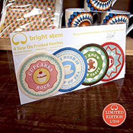 Bright Stem Sew On Patches/Badges Tea, Coffee, Gingerbread, Cupcake