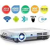 Projector WOWOTO H9 4000 Lumens Mini Projector LED DLP 1280x800 Real Home Theater Video Projector Wireless Screen Share Support 1080P 3D to 2D HDMI 176'' Android (Color: White)