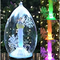 LED Glass Globe Christmas Ornament with Candle, Cone Shaped Color-Changing, Hand Painted Glittery Showflakes 6