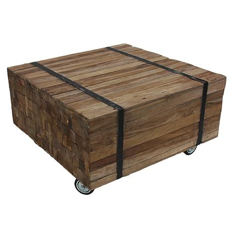 Vintage Couchtisch Massivholz Leisten rollbar Sofatisch Tisch Holz 60 x 60 cm