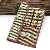 Easyou Bamboo Calligraphy Brush Holder Rollup Portable Protector 36x32cm(14.1
