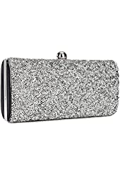 Cyy Evening Bag Crystal Pave Hard Case Clutch Handbag with Detachable Chain C050BG