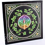 Attractive Lisa Parker Design Gothic Candlelit Pentagram and Ivy Canvas Picture on a Wooden Frame Wall Plaque.