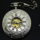 KAMAY'S White Steel transparent Rome Mechanical Movement watch pocket watch with chain - Double-sided to open