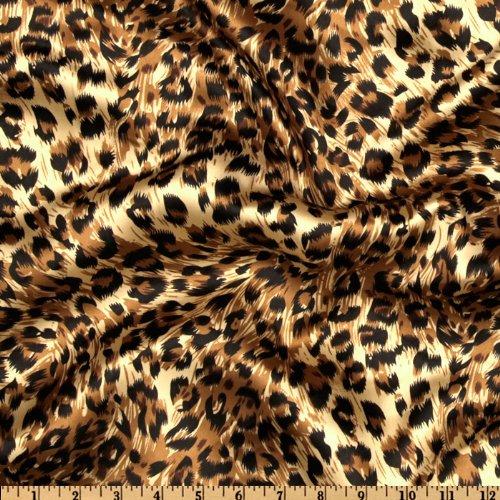 60'' Wide Charmeuse Satin Big Cheetah Tan/Brown/Black Fabric By The Yard