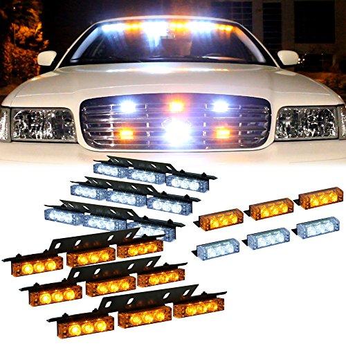 Amber White 54X Led Emergency Vehicle Deck Dash Grill Warning Lights - 1 Set