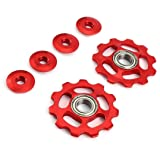 Promisen 11T Aluminium Jockey Wheel Upgraded RS Bearing Derailleur Pulley 11 Gear Guide Pulley (red) (Color: red)