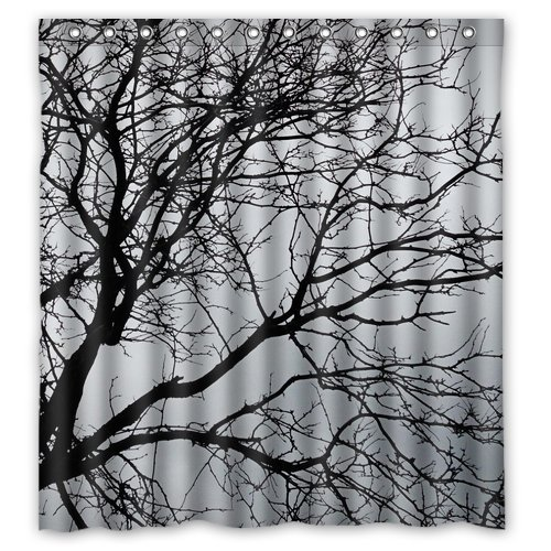 "Generic Personalized Black and White Tree Branch for Shower Curtain Bath Curtain 66"" x 72"""