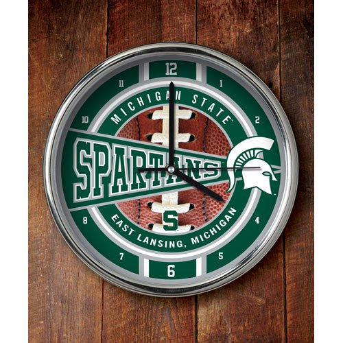 NCAA Michigan State Chrome Clock