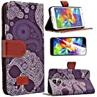 myLife (TM) Purple and White Paisley Style Print - Contemporary Design - Koskin Faux Leather (Card, Cash and ID Holder + Magnetic Detachable Closing) Slim Wallet for NEW Galaxy S5 (5G) Smartphone by Samsung (External Rugged Synthetic Leather With Magnetic Clip + Internal Secure Snap In Hard Rubberized Bumper Holder
