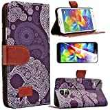 myLife Purple and White Paisley Style Print - Contemporary Design - Koskin Faux Leather (Card, Cash and ID Holder + Magnetic Detachable Closing) Slim Wallet for NEW Galaxy S5 (5G) Smartphone by Samsung (External Rugged Synthetic Leather With Magnetic Clip + Internal Secure Snap In Hard Rubberized Bumper Holder)